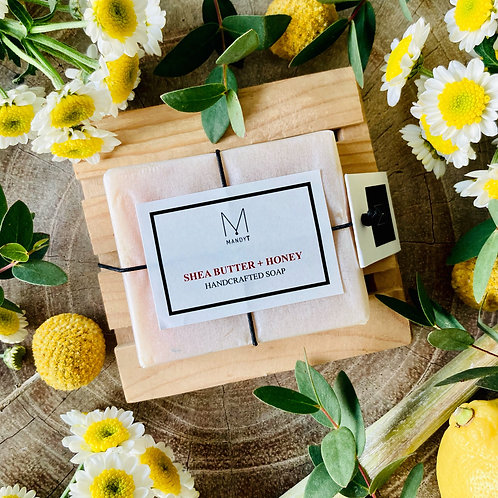 SHEA BUTTER + HONEY Soap with Wooden Dish