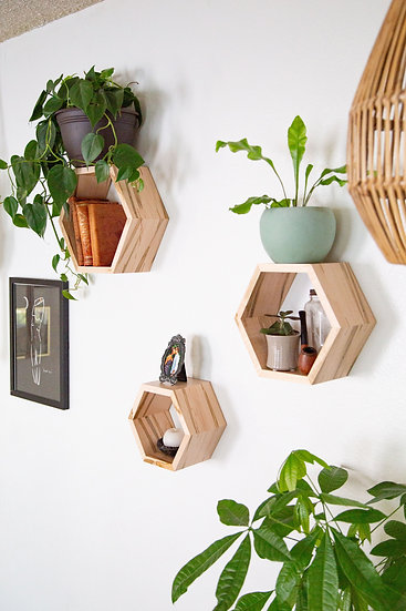 Ambrosia Maple Nestagon Shelves (set of 3)