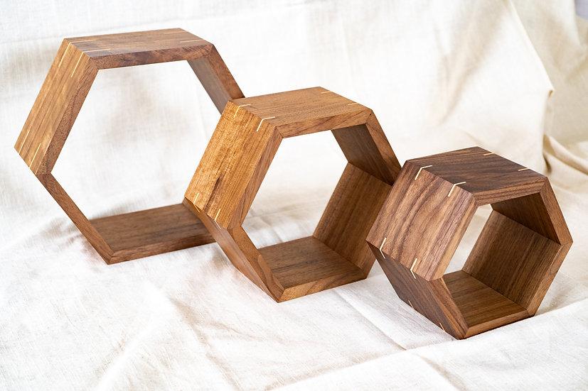Walnut Hexagon Shelves