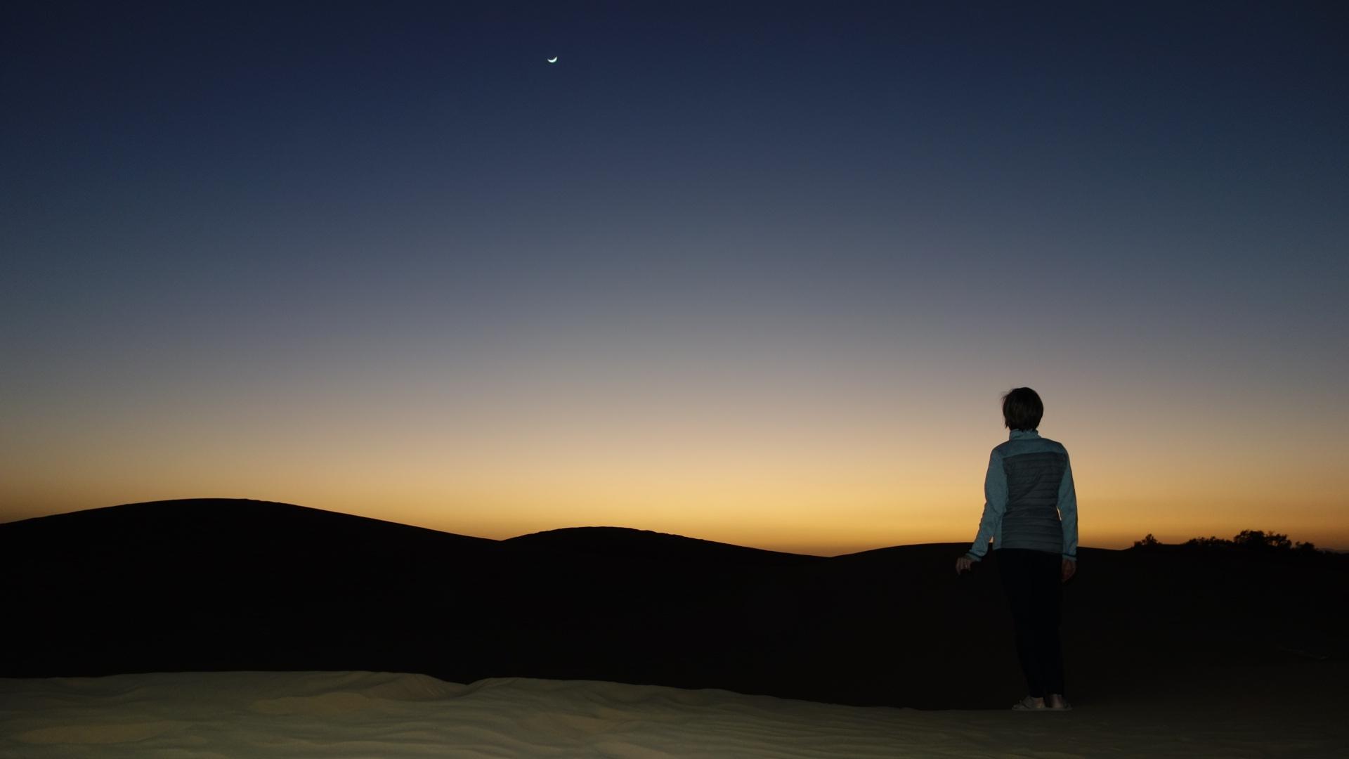 coucher de soleil dans le désert du Maroc