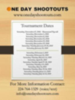 One Day Shootout Tournament Dates Flyer.