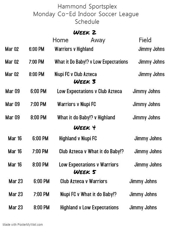 Co-Ed Week 2-5 Schedule 2020 - Made with