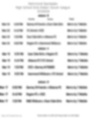 High School Girls Week 3-5 Schedule 2020