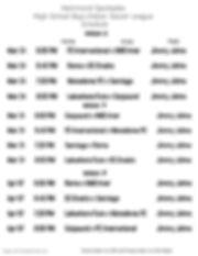 High School Boys Week 6-8 Schedule 2020