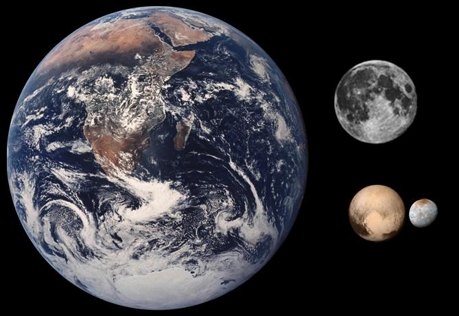 Порівняння розмірів Землі, Місяця, Плутона та Харона (Колаж NASA)