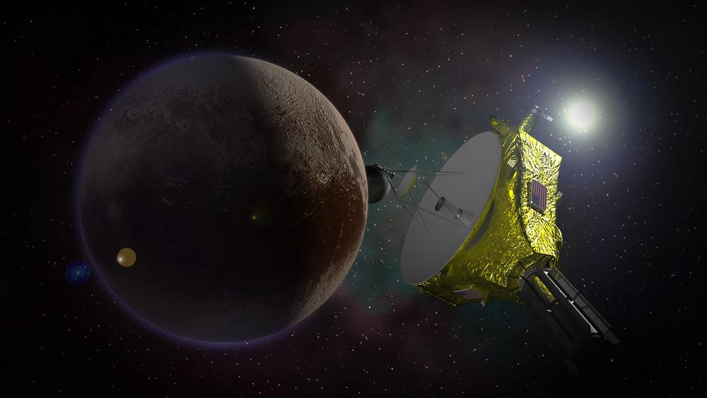"""Проліт """"Нових Обріїв"""" повз Плутон. (Іллюстрація Kevin Gill/Flickr)"""