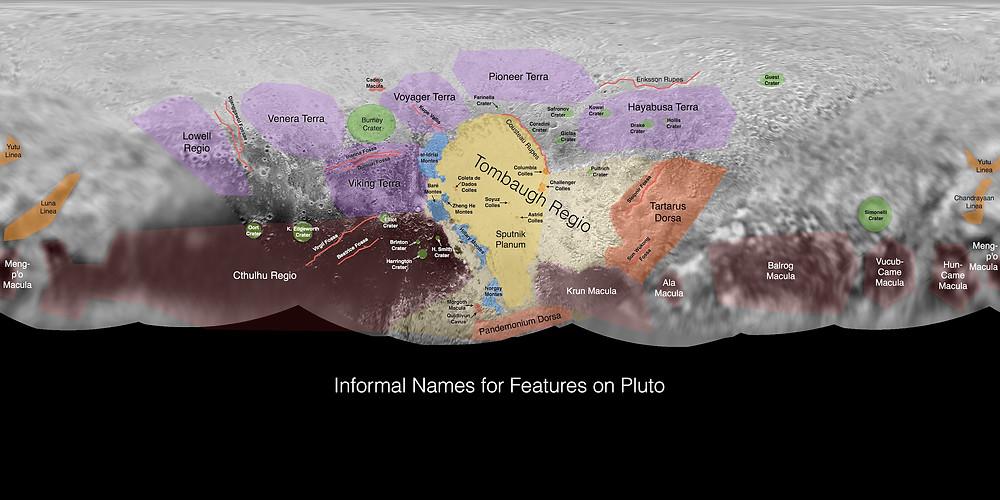 Мапа Плутона з неофіційними назвами