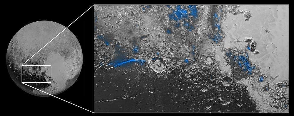 Водяна крига на Плутоні (позначено синім кольором). Фото Credits: NASA/JHUAPL/SwRI.