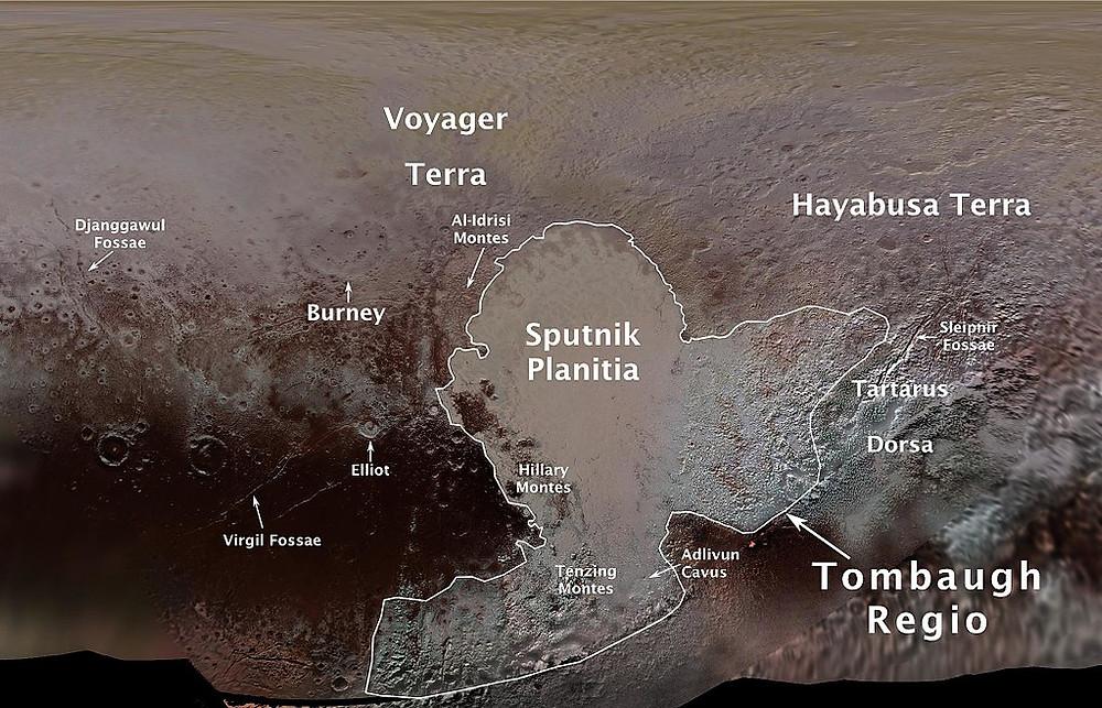 Мапа Плутона з офіційними назвами