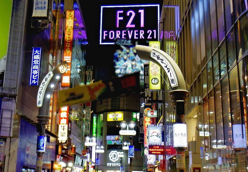 Center Gai di notte e F21 a Shibuya