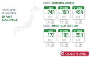 Listino per gli abbonamenti del Japan Rail Pass