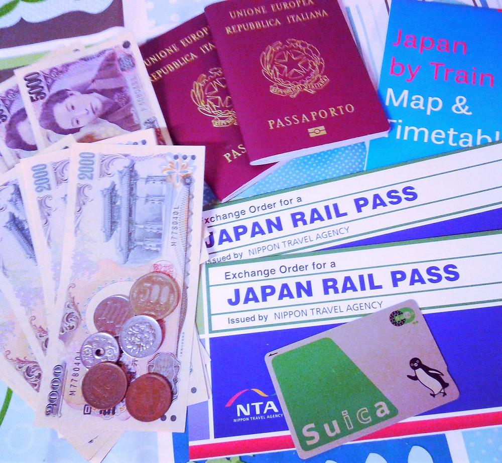 japan rail pass, suica, yen