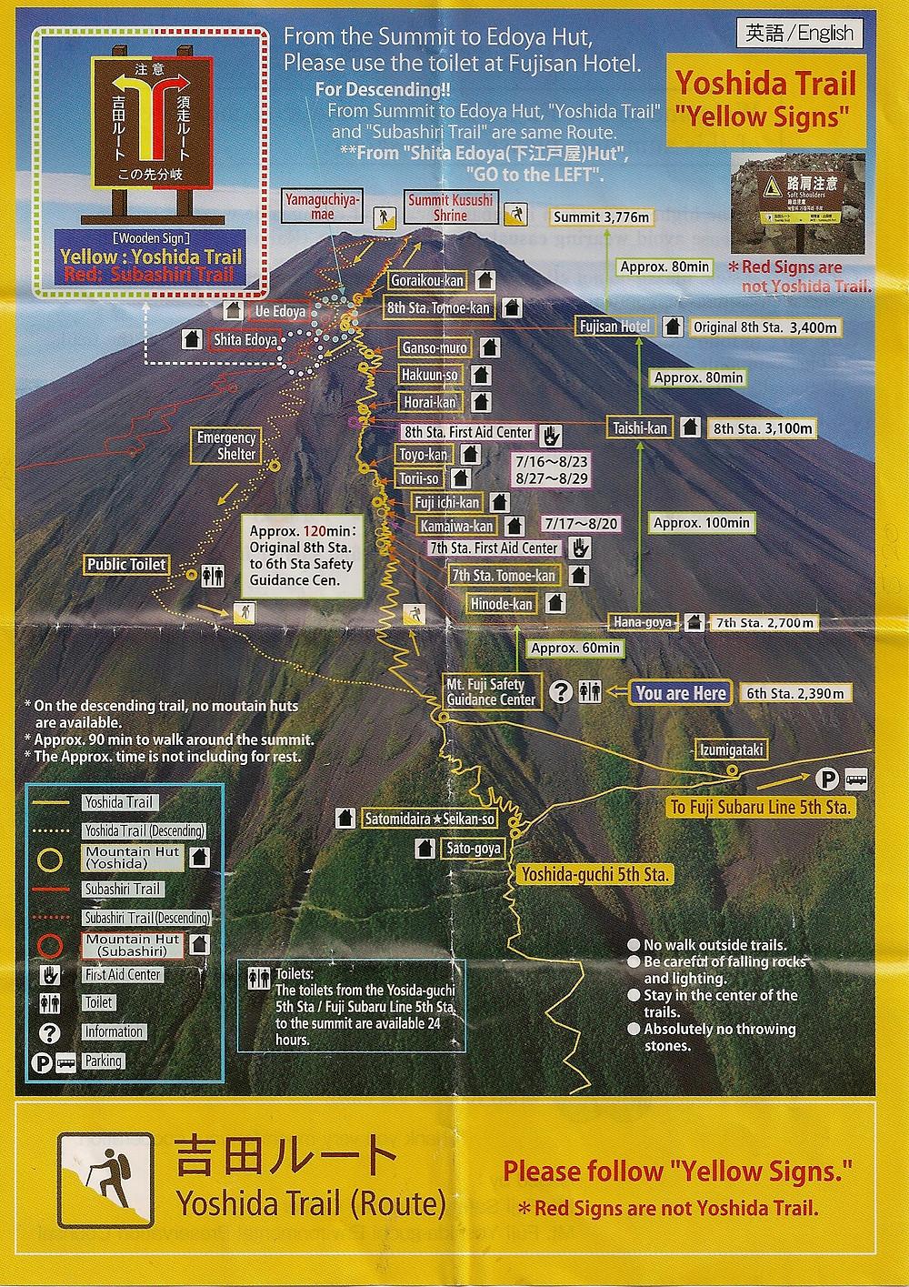 Mappa del sentiero YOSHIDA