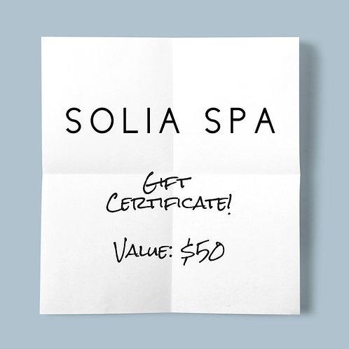 Solia Spa Gift Certificate