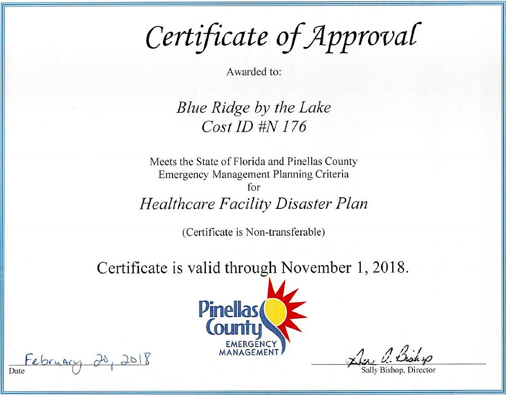Healthcare Facility Disaster Plan | Blue Ridge by the Lake | 1100 66th st. N, St. Petersburg, FL, 33710