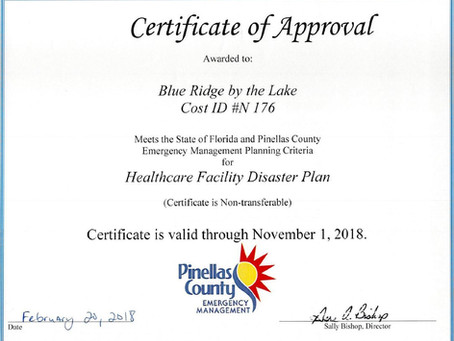We're Certified  - Healthcare Facility Disaster Plan