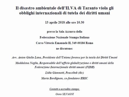 """(IT) Presentazione del Rapporto """"Il disastro ambientale dell'ILVA"""" - Roma, 13 aprile 2018"""