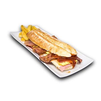 Bocadillos Ñam: Ranchero - Jamón york y queso fundido, beicon, tortilla francesa y salsa barbacoa