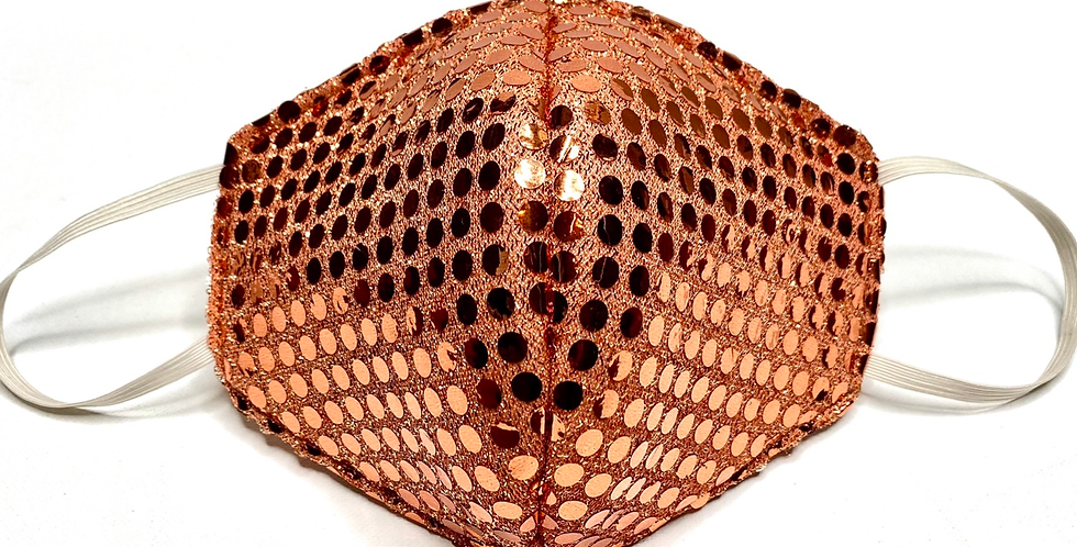 Fabric Face Mask / Bronzey Glitz  / Elastic Placement: Over Ear