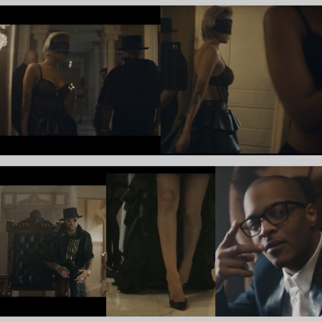Leather high low skirt for T.I video
