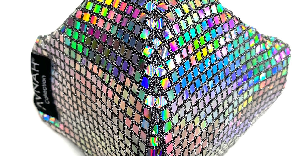 Fabric Face Mask / Rainbow Sparkle/ Elastic Placement : Around Head