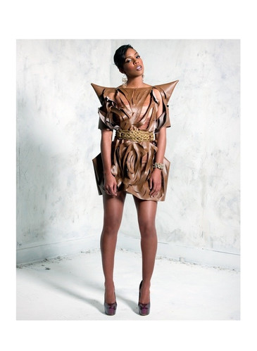 Kelly Rowland wearing AVNAH leather dress