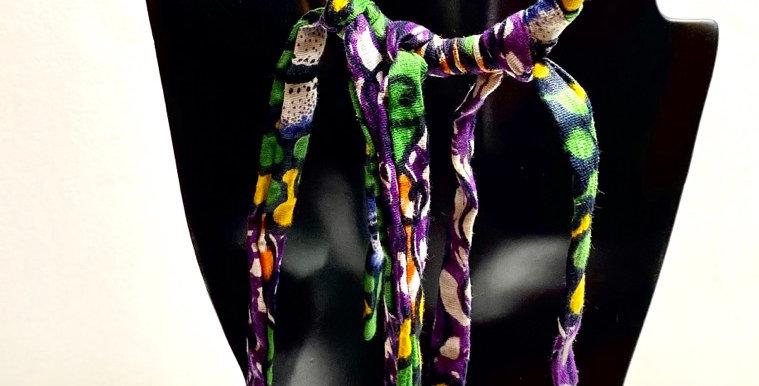 Mini Regal Hoop and Fringe Fabric Earrings
