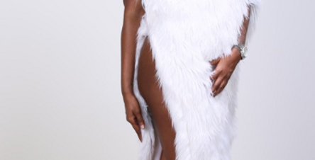 Angel Asymmetrical Faux Fur Dress