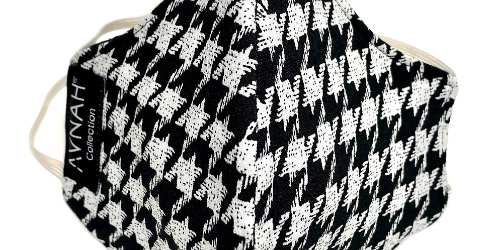Fabric Face Mask / Houndstooth / Elastic Placement: Around Head