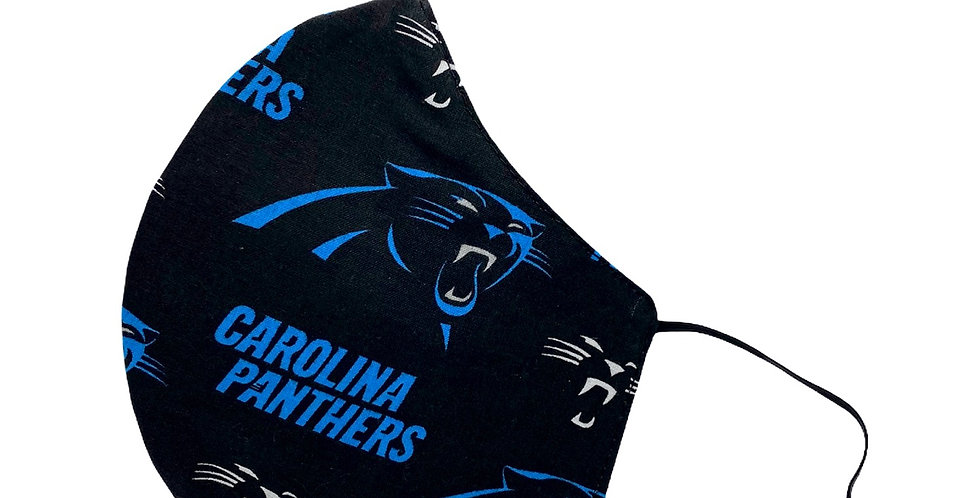 Carolina Panthers Mask (Elastic Placement around ears )