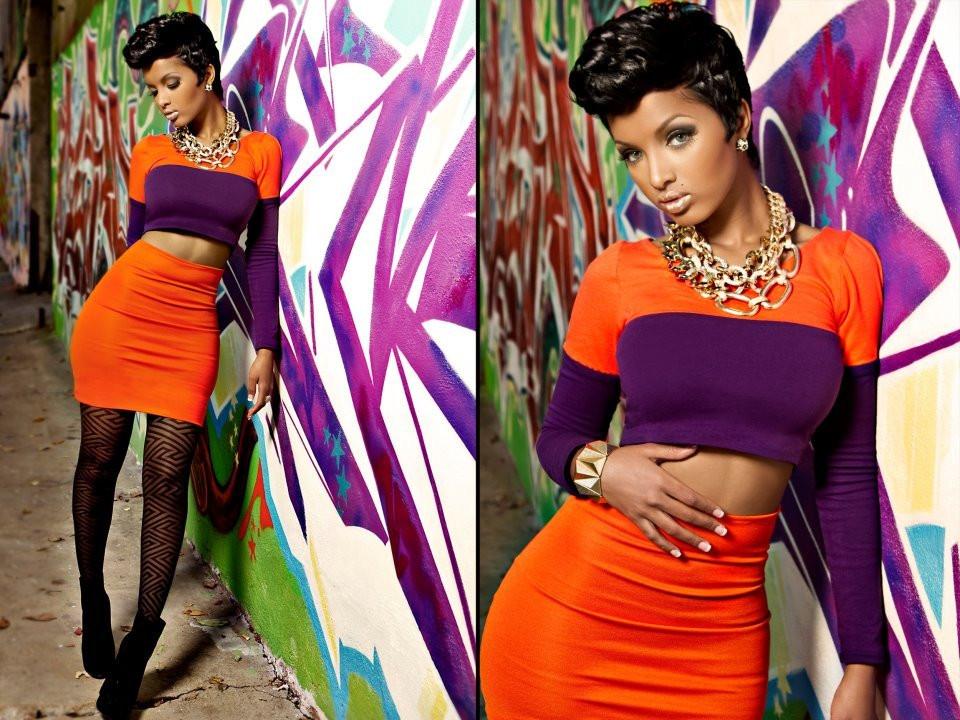 Lola Monroe in AVNAH Tangerine Skirt