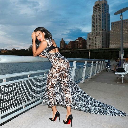 Angela Simmons wearing AVNAH Gown