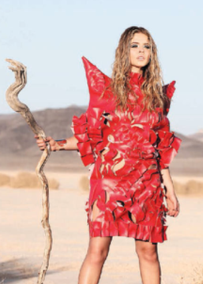 Sasha Pieterse wearing AVNAH Leather dress