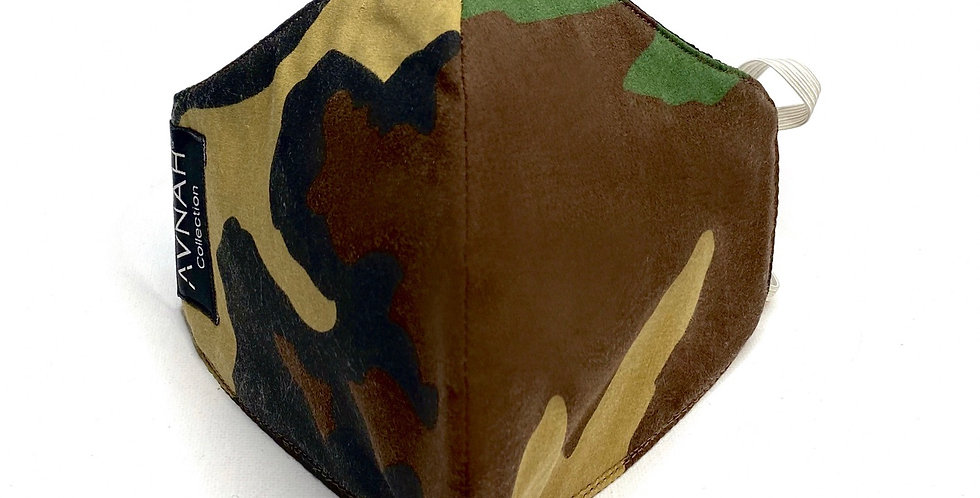 Fabric Face Mask / Curved Camouflage / Elastic Placement: Around Head