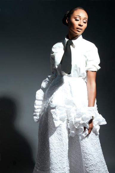 Cynthia Bailey wearing AVNAH Textured Skirt
