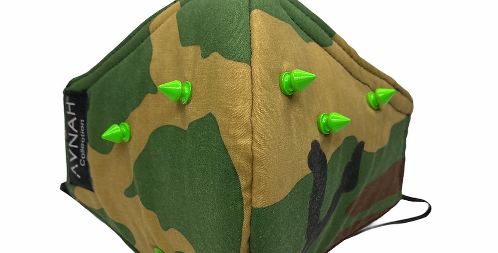 Camouflage and lime spiked mask