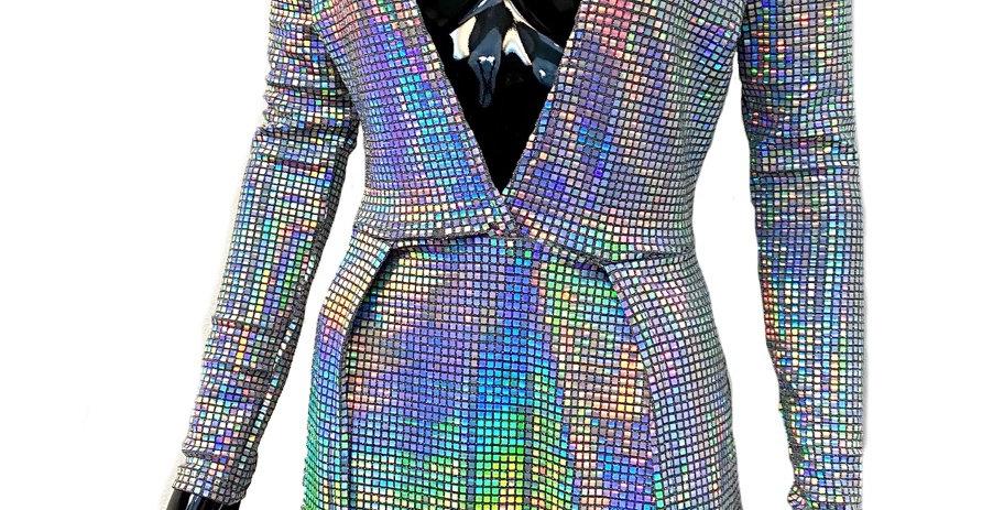 Rainbow Split Panel Dress with Mask set