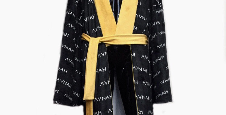 Oversized Monogrammed Velour Kimono