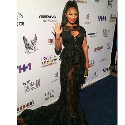 Teairra Mari wearing AVNAH lace gown for vh1 premiere