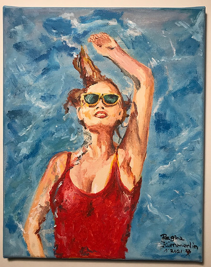 """swim "" woman in red bath dress acryl on canvas 24x30x1,5 cm"