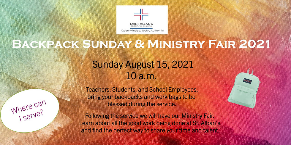 Backpack Sunday and Ministry Fair