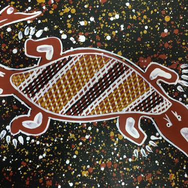'Saltwater Crocodile' (detail) by Kenny Reid, Larrakia