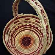Pandanus basket made by Cindy Jinmarabynana from Maningrida