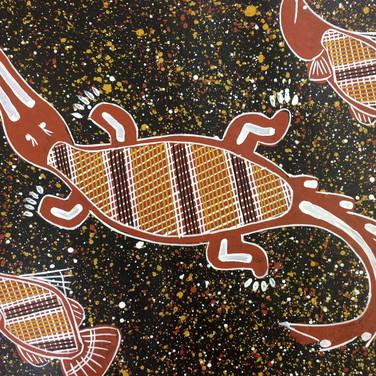 'Saltwater Crocodile and Barramundi' (detail) by Kenny Reid, Larrakia