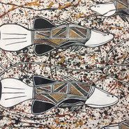 'Four Black Bream swimming among the water lilies' (detail) by Annanias Naborlhborlh