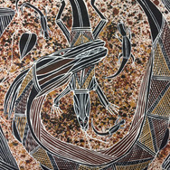 'Rainbow Serpent and Lizard in Stone Country' (detail) by Sebastian Wesley