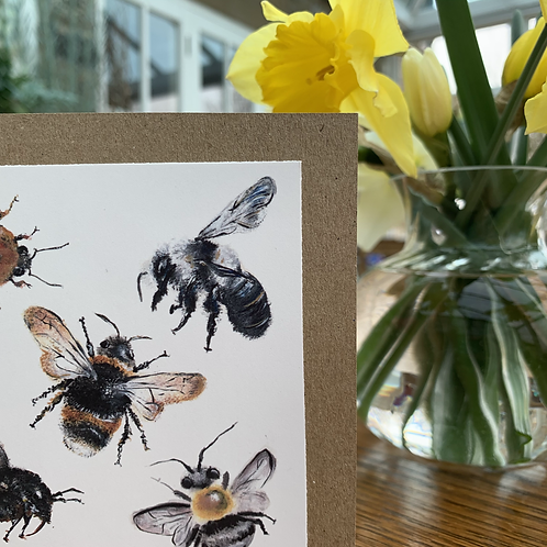 Handmade, Eco-friendly, Bumblebees Greetings Card