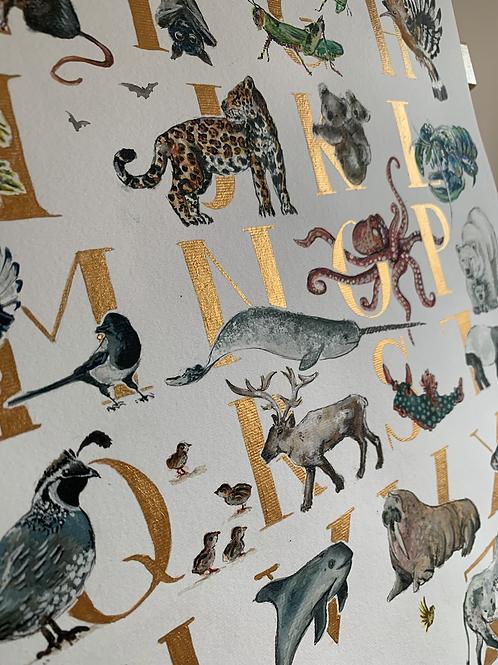 Limited Edition Gold, Animal, Alphabet Print