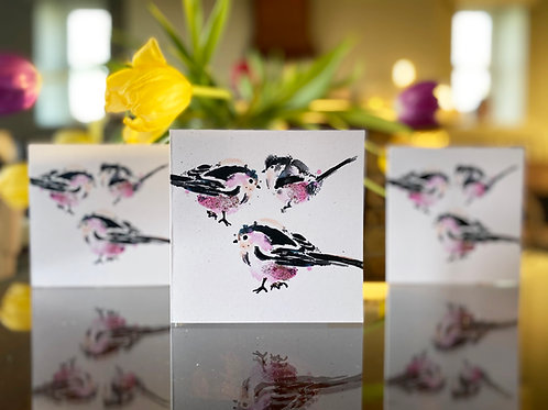Handmade, Eco-friendly, Long-Tailed Tits, Greetings Cards