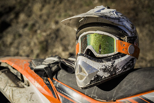 Dirty motorcycle motocross helmet with g